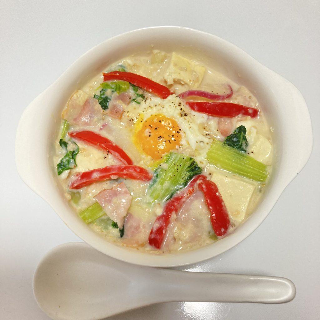 豆乳とオートミールのスープ